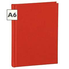 Notebook Classic (A6) book linen cover, 160 pages, ruled, red