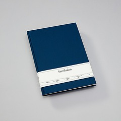 Notebook Classic (A4) book linen cover, 160 pages, ruled, marine