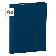 Notebook Classic (A6) book linen cover, 160 pages, plain, marine