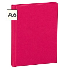 Notebook Classic (A6) book linen cover, 160 pages, plain, pink