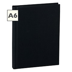 Notebook Classic (A6) book linen cover, 160 pages, plain, black