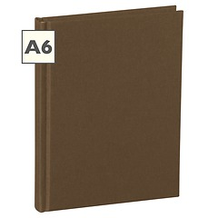 Notebook Classic (A6) book linen cover, 160 pages, plain, brown