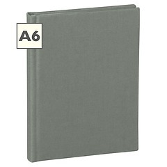 Notebook Classic (A6) book linen cover, 160 pages, plain, grey
