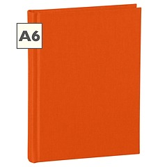 Notebook Classic (A6) book linen cover, 160 pages, plain, orange