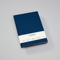 Notebook Classic (A4) book linen cover, 160 pages, plain, marine