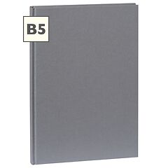Notebook Classic (B5) book linen cover, 160 pages, plain, grey