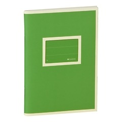 Exercise Book (A6) with a Tag to personalize, ruled, lime