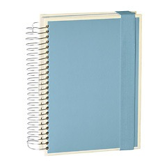 Mucho (A5) spiral-bound notebook, 330 pages, 3 different rulings, ciel