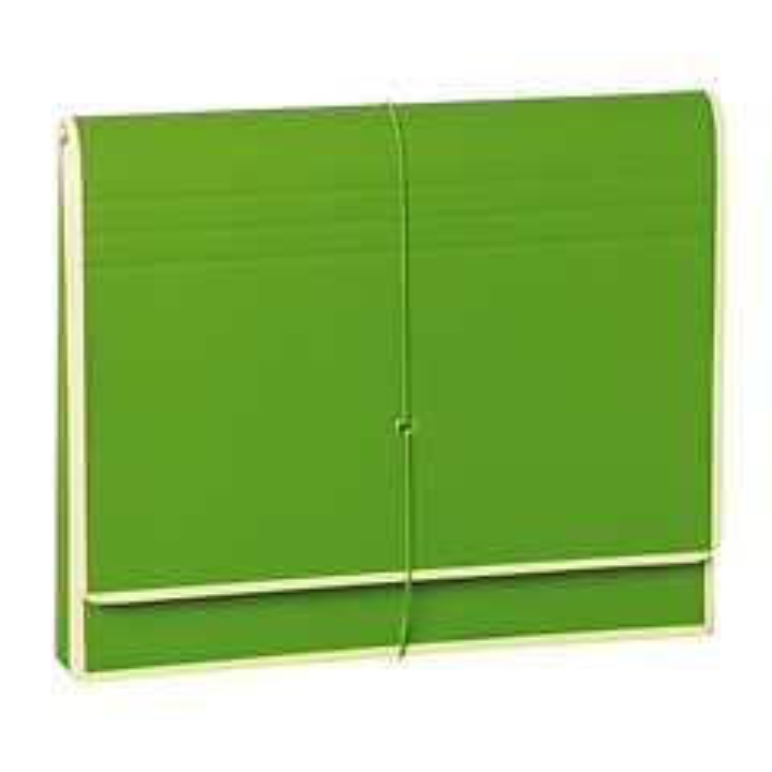 Accordeon, file folder with 12 pockets, elastic band closure, lime