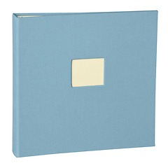 17 Rings Photo Album & Guest Book with book linen cover, ciel