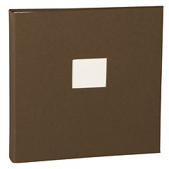 17 Rings Photo Album & Guest Book with book linen cover, brown