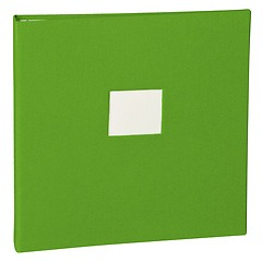 17 Rings Photo Album & Guest Book with book linen cover, lime