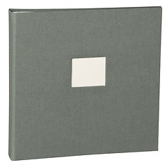 17 Rings Photo Album & Guest Book with book linen cover, grey