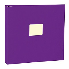 17 Rings Photo Album & Guest Book with book linen cover, plum
