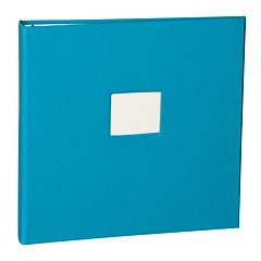 17 Rings Photo Album & Guest Book with book linen cover, turquoise