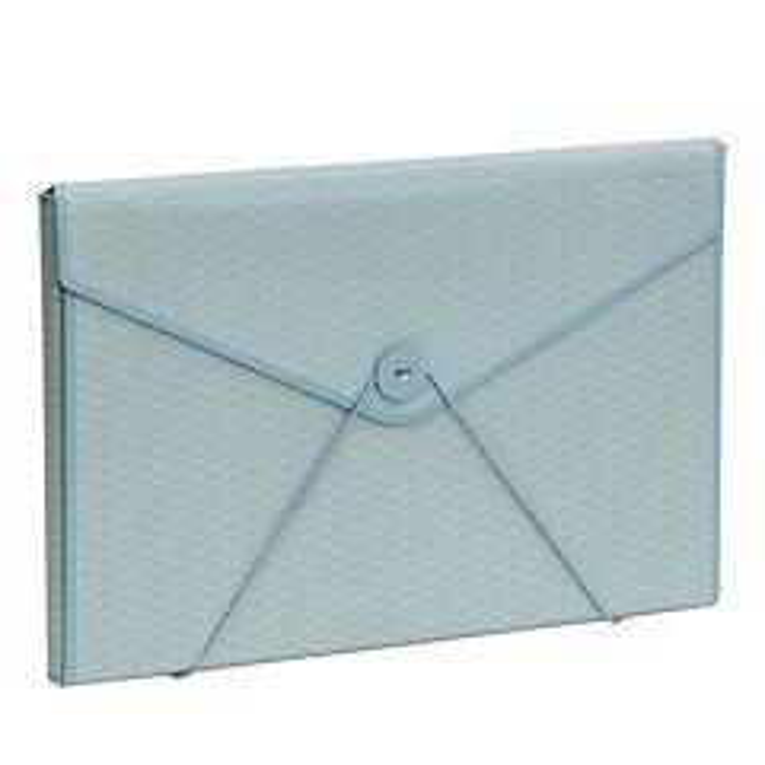 Envelope Folder with elastic band closure, ciel