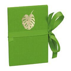 Leporello Classico Monstera gold embossing, 14 photos up to 10 x 15 cm, lime