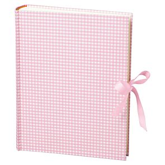 Album Large, booklinen cover, 130p., cream white mounting board, glassine paper,Vichy pink