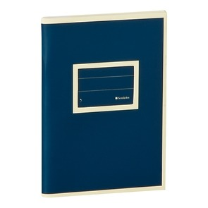 Exercise Book (A6) with a Tag to personalize, ruled, marine