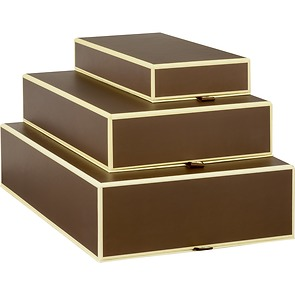 Set of 3 Gift Boxes, rectangular, brown