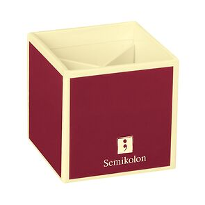Pencil Cup with 4 separate compartments, burgundy