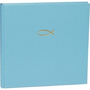 Guestbook, 240 pages, turquoise, Christian, fish embossing