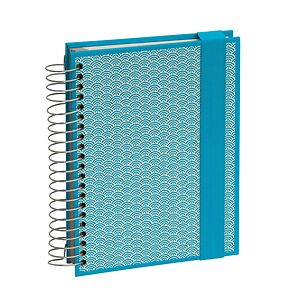 Mucho (A5) spiral-bound notebook, 330 pages, 3 different rulings, turquoise