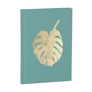 Notebook Classic A5 Monstera gold embossing, plain, linen, 144 pages, acquaverde