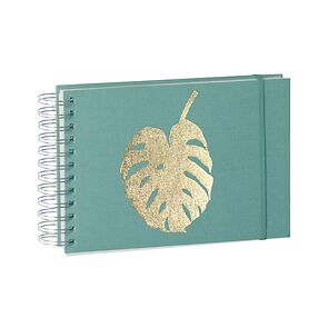 Mini Mucho Album cream pages, Monstera gold embossing, acquaverde