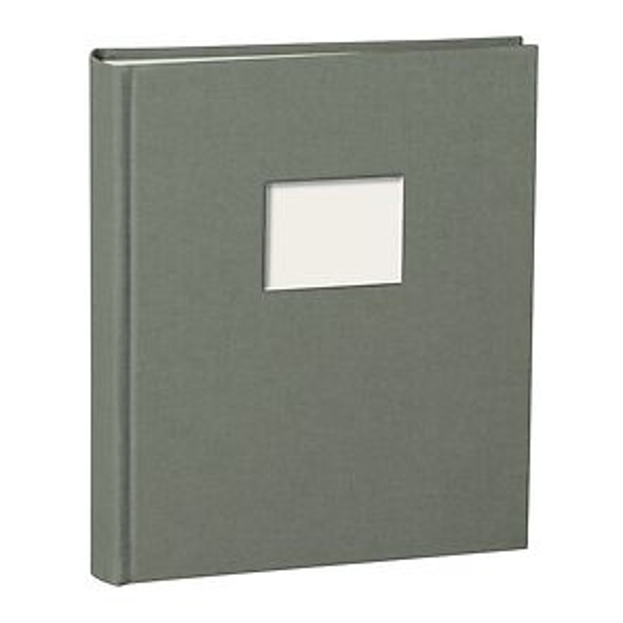 Album M Finestra grey, 80 p. cream mounting board, glassine paper  & cutout f. cover pic.