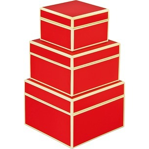 Set of 3 Gift Boxes, small, red