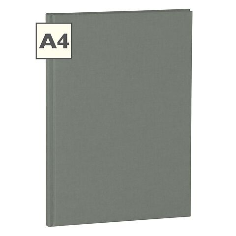 Notebook Classic (A4) book linen cover, 160 pages, ruled, grey