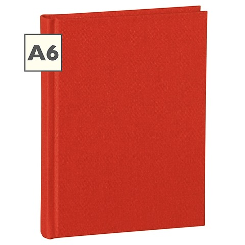 Notebook Classic (A6) book linen cover, 160 pages, plain, red