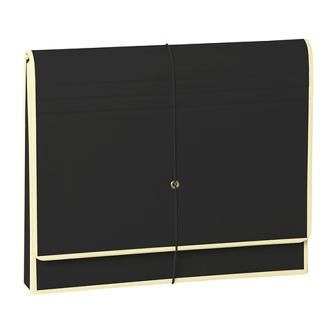Accordeon, file folder with 12 pockets, elastic band closure, black