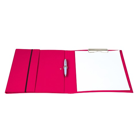 Clip Folder with metal clip,pen loop, elastic band (A4) & letter size,efalin cover, ciel