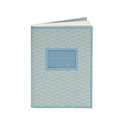 Exercise Book (A6) with a Tag to personalize, ruled, ciel
