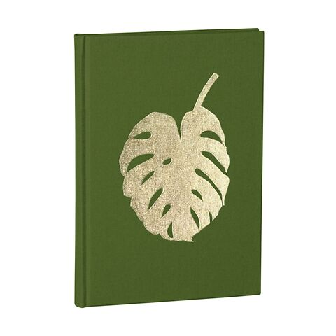Notebook Classic A5 Monstera gold embossing, plain, linen, 144 pages, irish