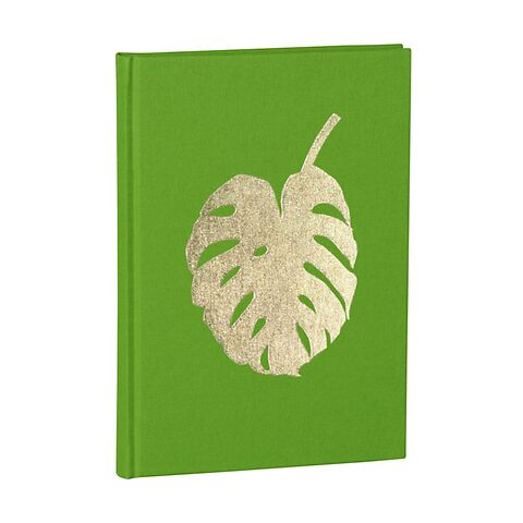 Notebook Classic A5 Monstera gold embossing, plain, linen, 144 pages, lime